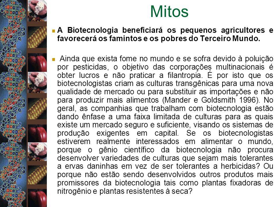 Mitos A Biotecnologia beneficiará os pequenos agricultores e favorecerá os famintos e os pobres do Terceiro Mundo. Ainda que exista fome no mundo e se