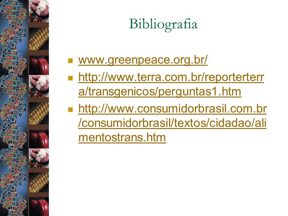 Bibliografia www.greenpeace.org.br/ http://www.terra.com.br/reporterterr a/transgenicos/perguntas1.htm http://www.terra.com.br/reporterterr a/transgen