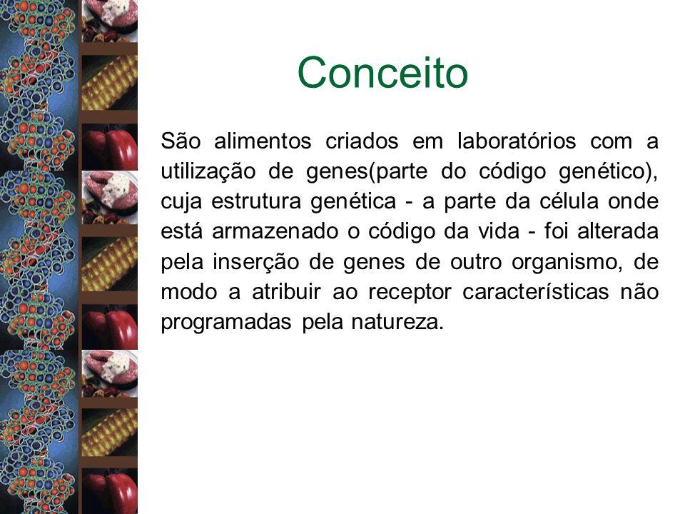 Conceito São alimentos criados em laboratórios com a utilização de genes(parte do código genético), cuja estrutura genética - a parte da célula onde e