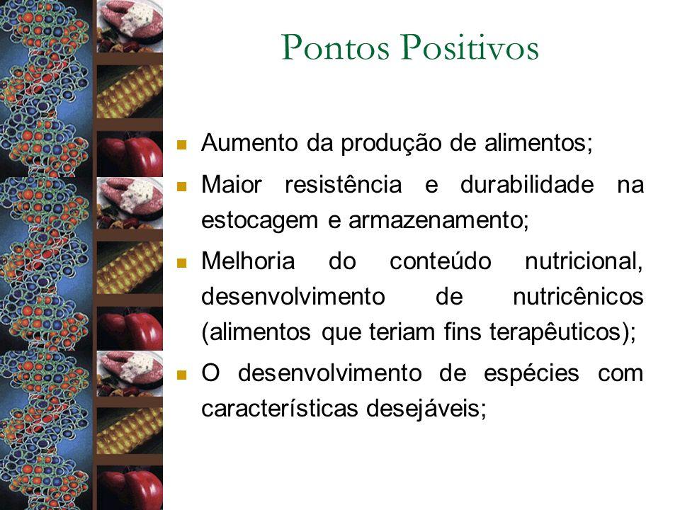 Pontos Positivos Aumento da produção de alimentos; Maior resistência e durabilidade na estocagem e armazenamento; Melhoria do conteúdo nutricional, de