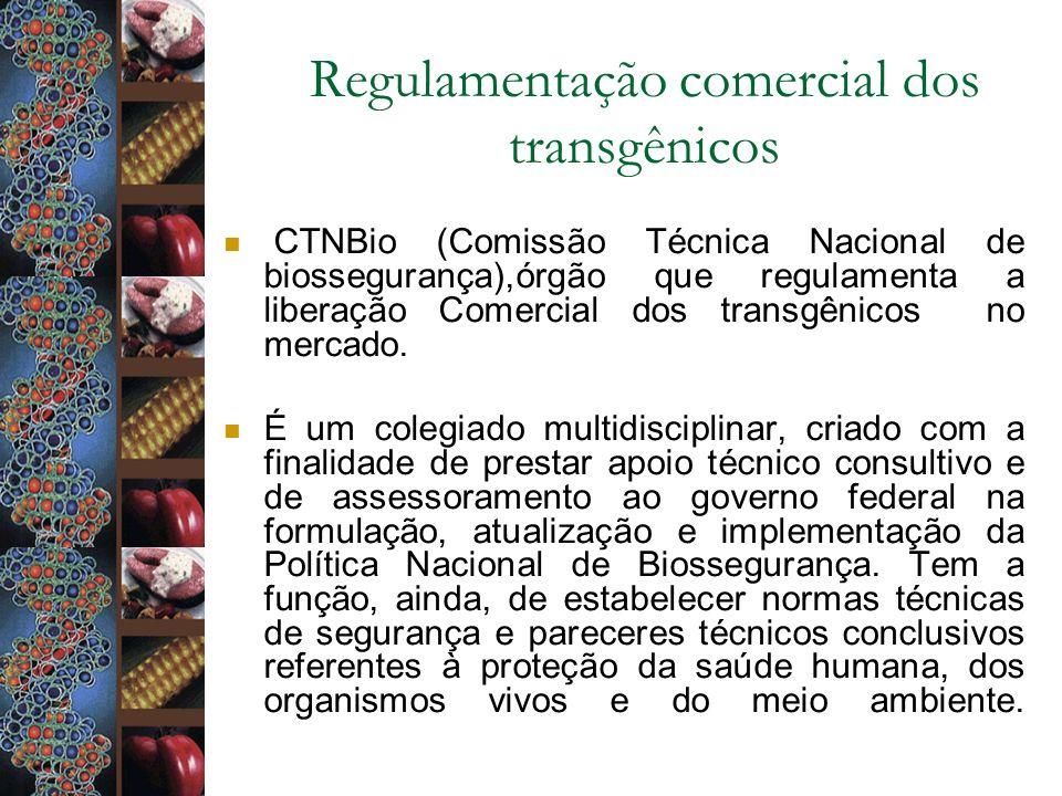 Regulamentação comercial dos transgênicos CTNBio (Comissão Técnica Nacional de biossegurança),órgão que regulamenta a liberação Comercial dos transgên