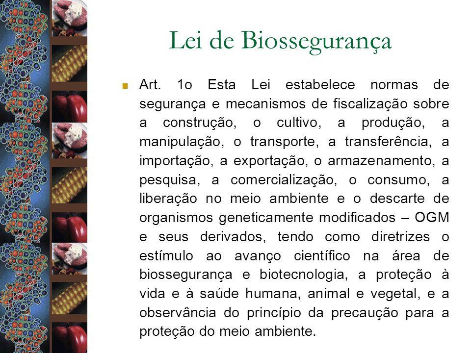 Lei de Biossegurança Art. 1o Esta Lei estabelece normas de segurança e mecanismos de fiscalização sobre a construção, o cultivo, a produção, a manipul