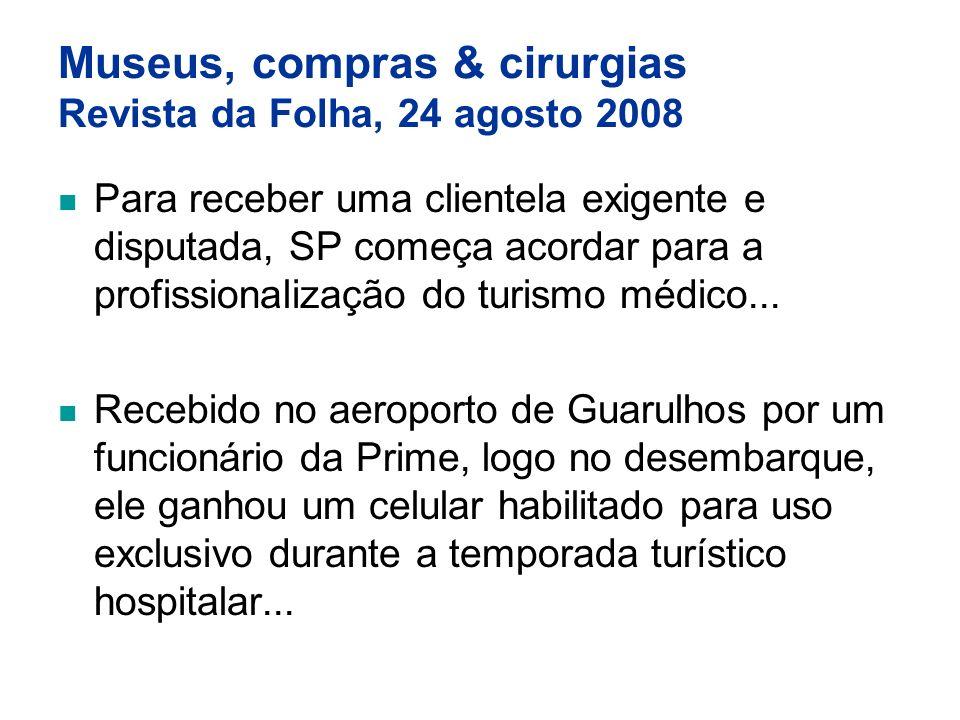 Museus, compras & cirurgias Revista da Folha, 24 agosto 2008 Para receber uma clientela exigente e disputada, SP começa acordar para a profissionaliza