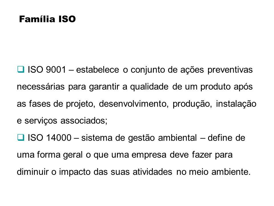 Família ISO ISO 9001 – estabelece o conjunto de ações preventivas necessárias para garantir a qualidade de um produto após as fases de projeto, desenv