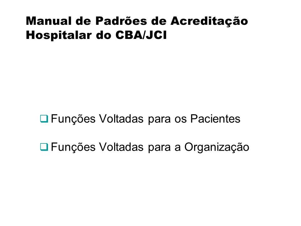 Manual de Padrões de Acreditação Hospitalar do CBA/JCI Funções Voltadas para os Pacientes Funções Voltadas para a Organização