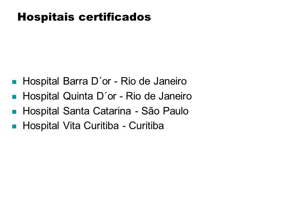 Hospitais certificados Hospital Barra D´or - Rio de Janeiro Hospital Quinta D´or - Rio de Janeiro Hospital Santa Catarina - São Paulo Hospital Vita Cu
