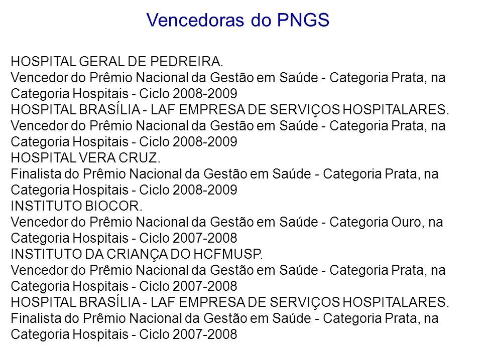 Vencedoras do PNGS HOSPITAL GERAL DE PEDREIRA. Vencedor do Prêmio Nacional da Gestão em Saúde - Categoria Prata, na Categoria Hospitais - Ciclo 2008-2