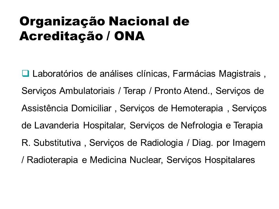 Organização Nacional de Acreditação / ONA Laboratórios de análises clínicas, Farmácias Magistrais, Serviços Ambulatoriais / Terap / Pronto Atend., Ser