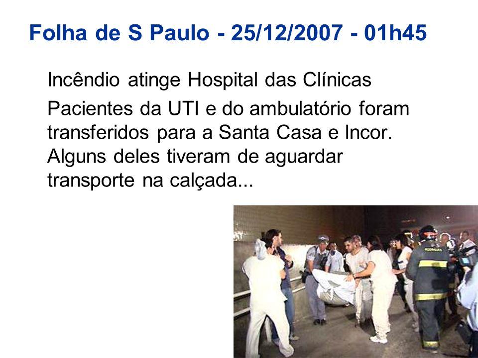 Folha de S Paulo - 25/12/2007 - 01h45 Incêndio atinge Hospital das Clínicas Pacientes da UTI e do ambulatório foram transferidos para a Santa Casa e I