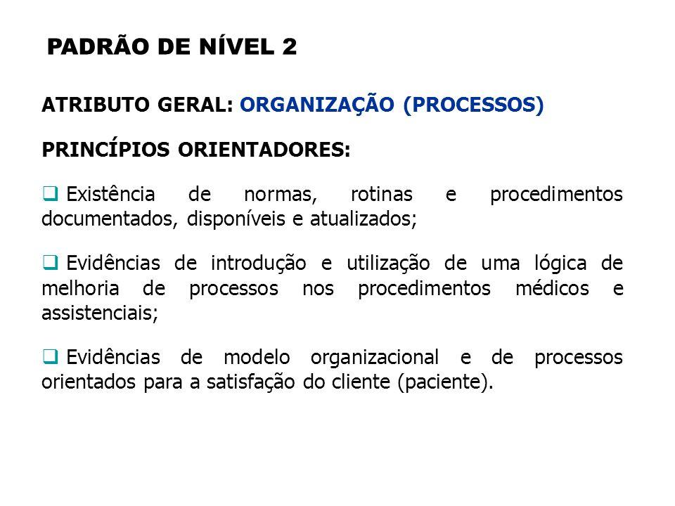 PADRÃO DE NÍVEL 2 ATRIBUTO GERAL: ORGANIZAÇÃO (PROCESSOS) PRINCÍPIOS ORIENTADORES: Existência de normas, rotinas e procedimentos documentados, disponí