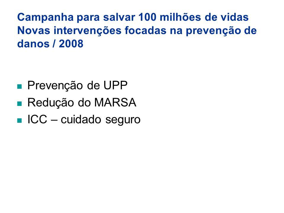Campanha para salvar 100 milhões de vidas Novas intervenções focadas na prevenção de danos / 2008 Prevenção de UPP Redução do MARSA ICC – cuidado segu
