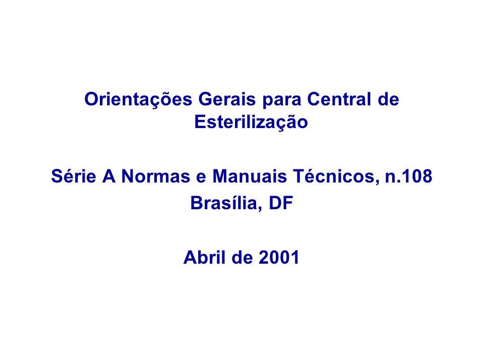 Orientações Gerais para Central de Esterilização Série A Normas e Manuais Técnicos, n.108 Brasília, DF Abril de 2001