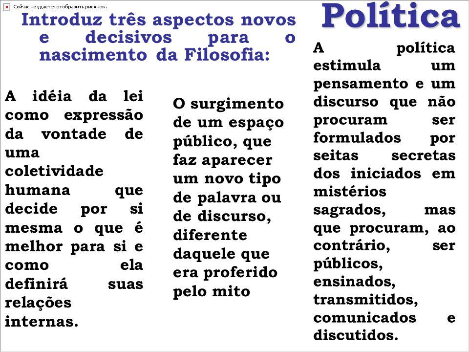 Política Introduz três aspectos novos e decisivos para o nascimento da Filosofia: A idéia da lei como expressão da vontade de uma coletividade humana