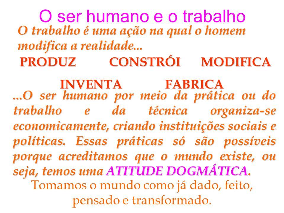 O ser humano e o trabalho O trabalho é uma ação na qual o homem modifica a realidade... PRODUZCONSTRÓIMODIFICA INVENTAFABRICA...O ser humano por meio