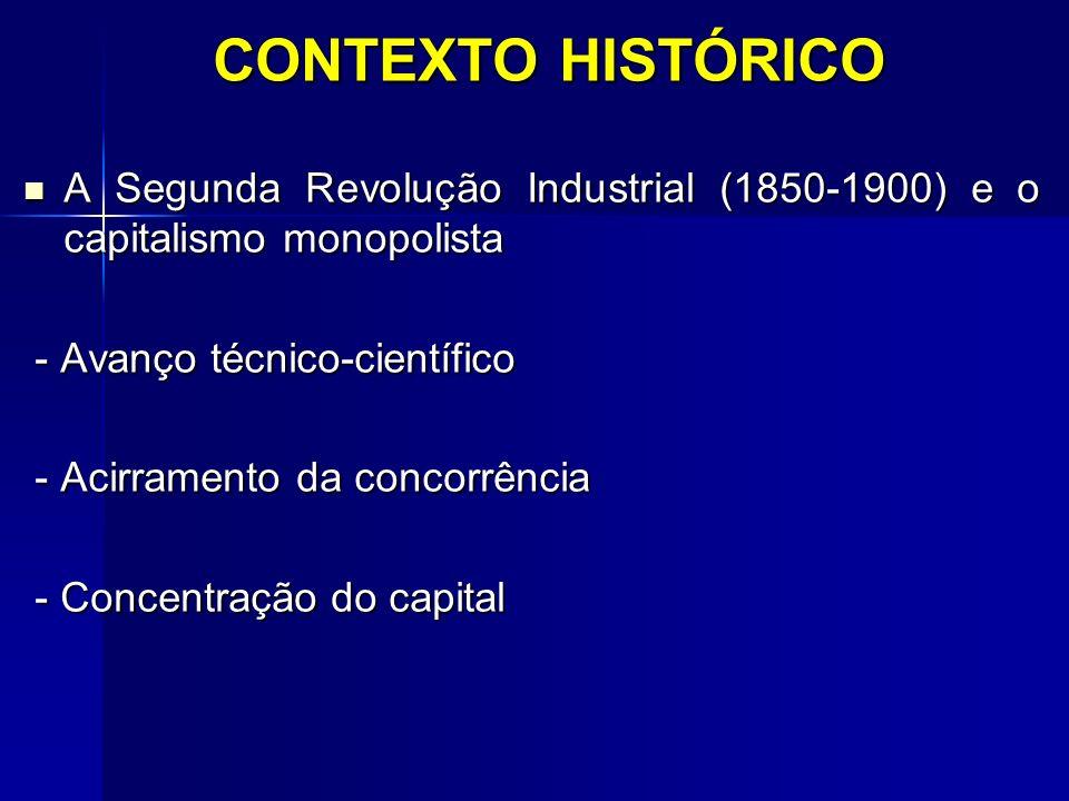 CONTEXTO HISTÓRICO A Segunda Revolução Industrial (1850-1900) e o capitalismo monopolista A Segunda Revolução Industrial (1850-1900) e o capitalismo m