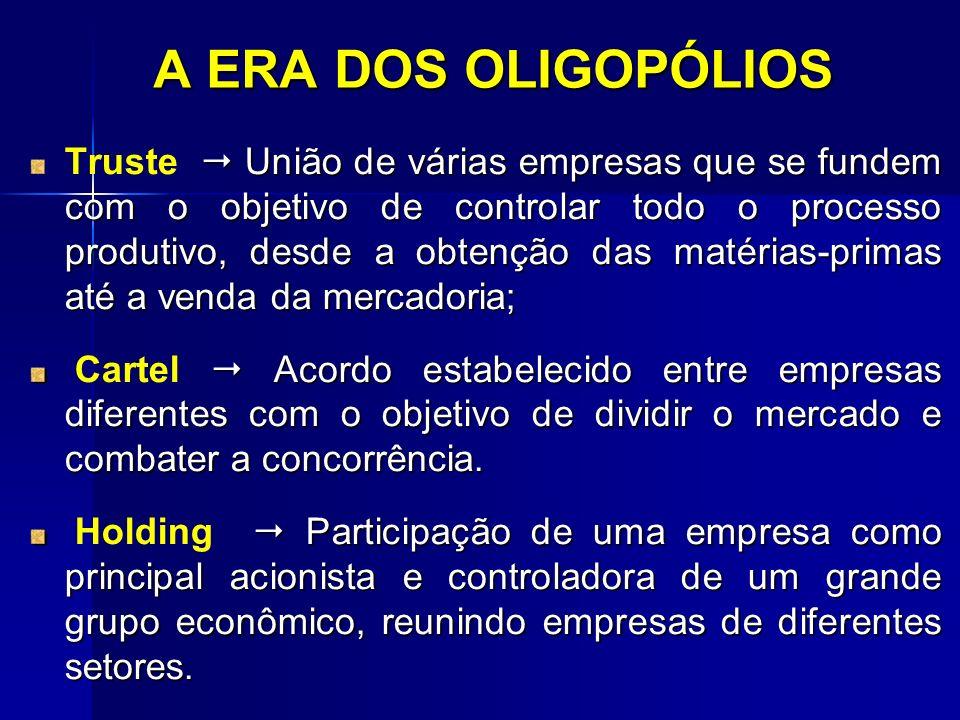 A ERA DOS OLIGOPÓLIOS União de várias empresas que se fundem com o objetivo de controlar todo o processo produtivo, desde a obtenção das matérias-prim