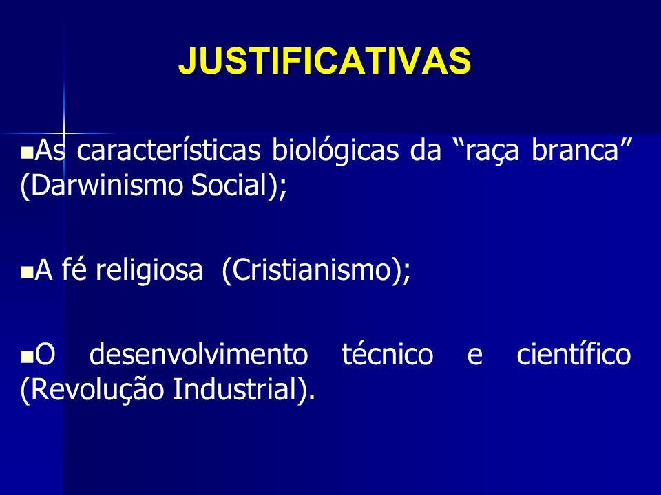 JUSTIFICATIVAS As características biológicas da raça branca (Darwinismo Social); A fé religiosa (Cristianismo); O desenvolvimento técnico e científico