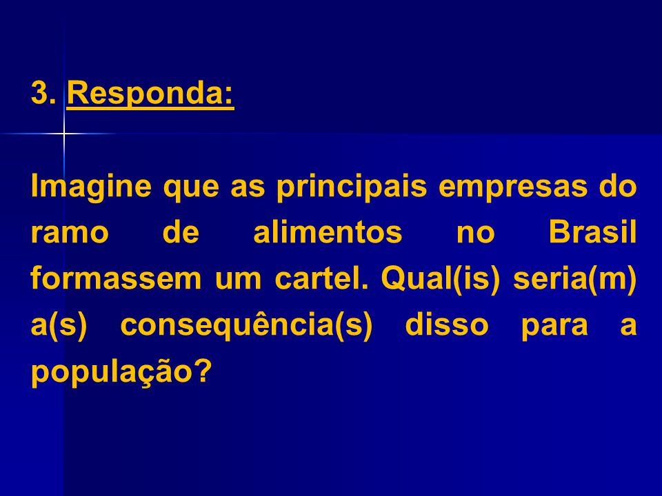 3. Responda: Imagine que as principais empresas do ramo de alimentos no Brasil formassem um cartel. Qual(is) seria(m) a(s) consequência(s) disso para