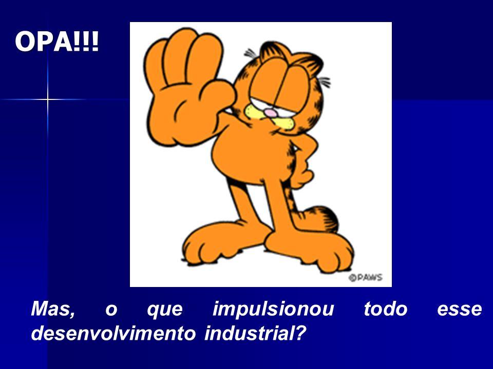 OPA!!! Mas, o que impulsionou todo esse desenvolvimento industrial?