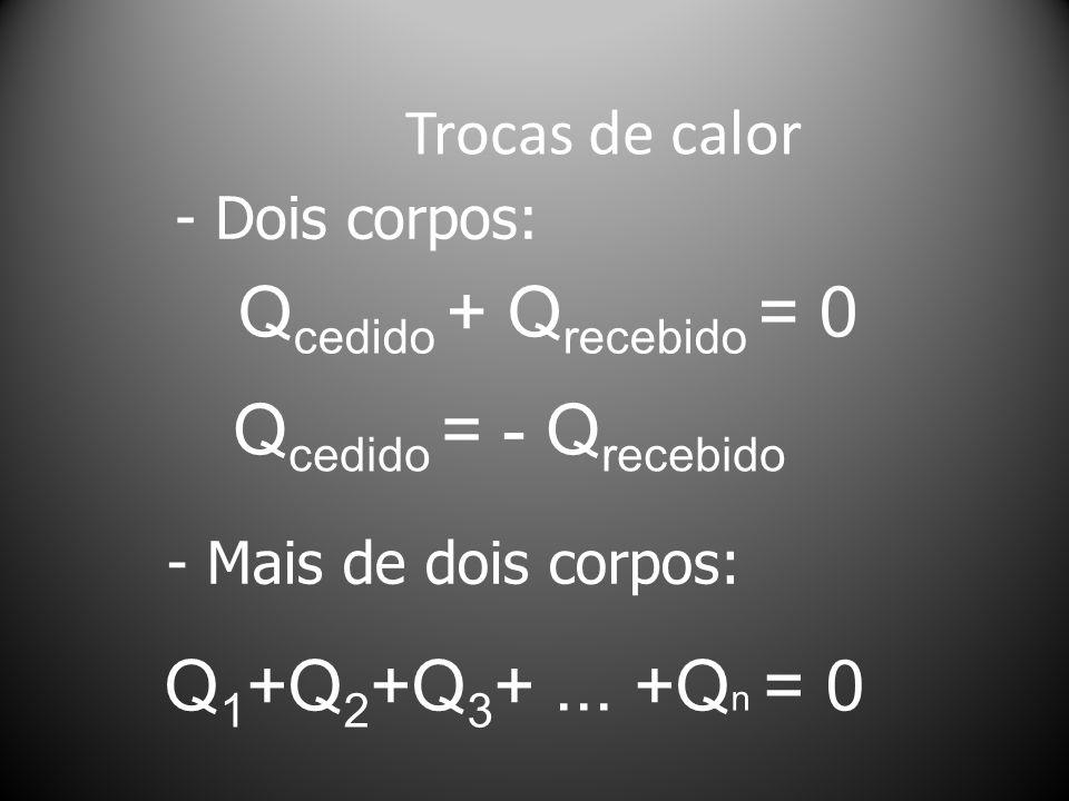 Trocas de calor Q cedido + Q recebido = 0 Q cedido = - Q recebido - Dois corpos: - Mais de dois corpos: Q 1 +Q 2 +Q 3 +...