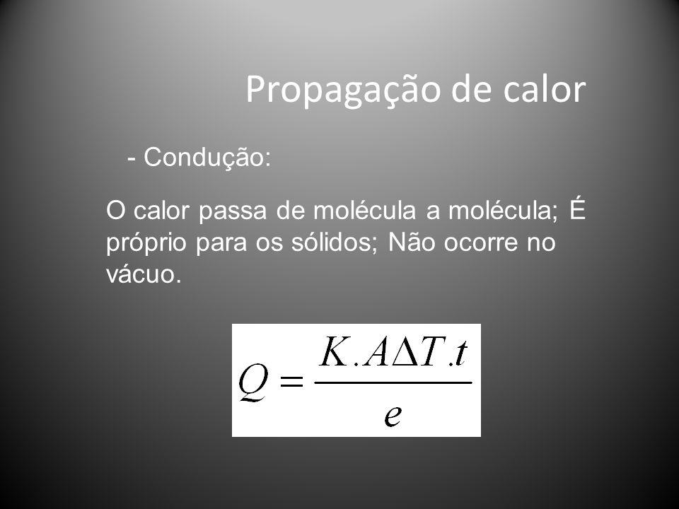 Propagação de calor O calor passa de molécula a molécula; É próprio para os sólidos; Não ocorre no vácuo.
