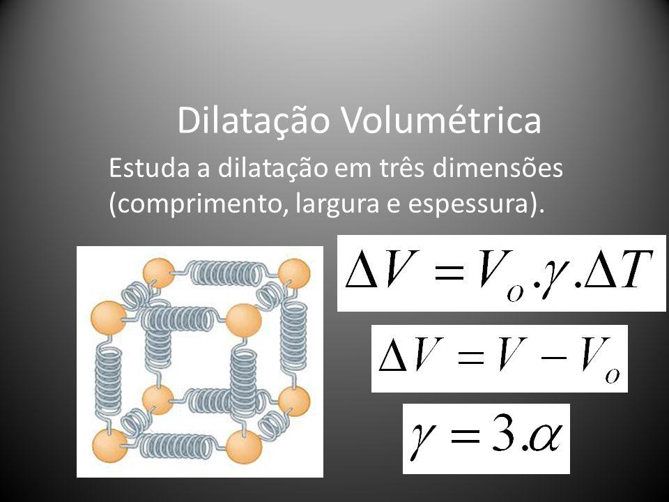 Dilatação Volumétrica Estuda a dilatação em três dimensões (comprimento, largura e espessura).