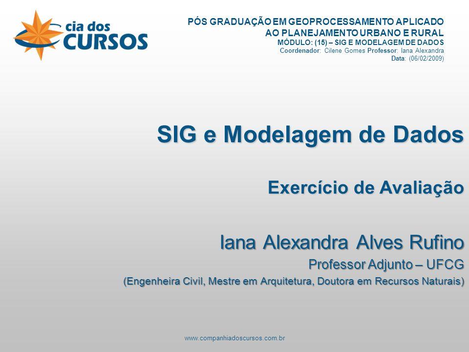 www.companhiadoscursos.com.br PÓS GRADUAÇÃO EM GEOPROCESSAMENTO APLICADO AO PLANEJAMENTO URBANO E RURAL MÓDULO: (15) – SIG E MODELAGEM DE DADOS Coordenador: Cilene Gomes Professor: Iana Alexandra Data: (06/02/2009) SIG e Modelagem de Dados Exercício de Avaliação Iana Alexandra Alves Rufino Professor Adjunto – UFCG (Engenheira Civil, Mestre em Arquitetura, Doutora em Recursos Naturais)