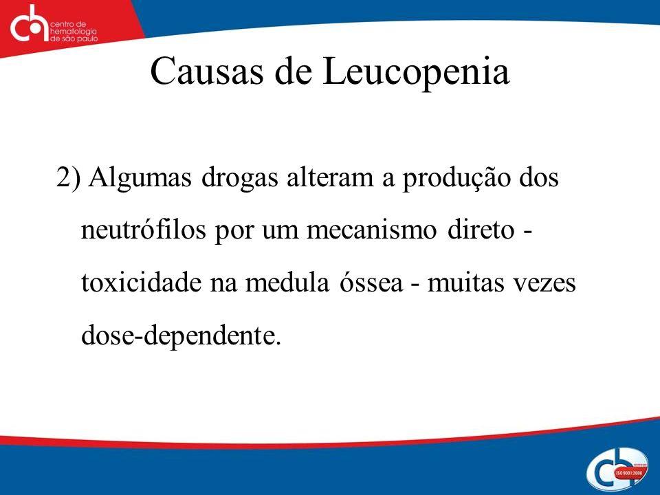 Causas de Leucopenia 2) Algumas drogas alteram a produção dos neutrófilos por um mecanismo direto - toxicidade na medula óssea - muitas vezes dose-dep