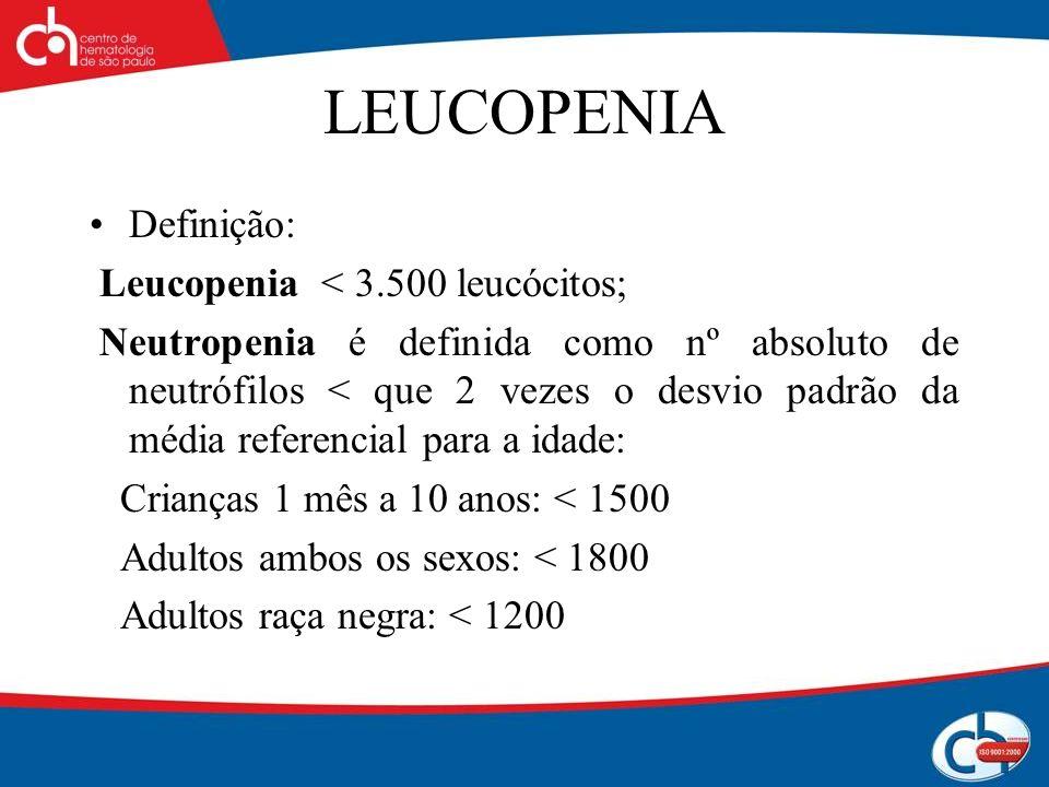 LEUCOPENIA Definição: Leucopenia < 3.500 leucócitos; Neutropenia é definida como nº absoluto de neutrófilos < que 2 vezes o desvio padrão da média ref