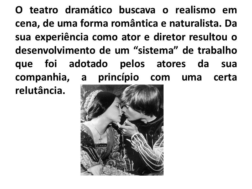 O teatro dramático buscava o realismo em cena, de uma forma romântica e naturalista. Da sua experiência como ator e diretor resultou o desenvolvimento