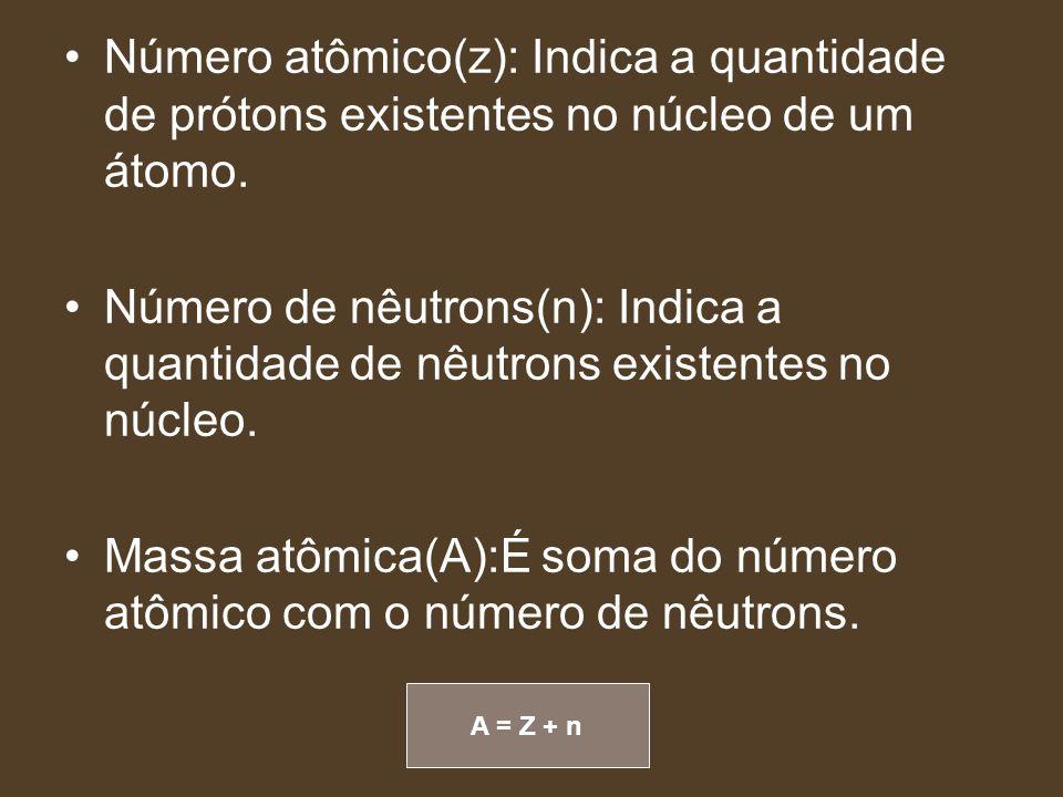 A = Z + n Número atômico(z): Indica a quantidade de prótons existentes no núcleo de um átomo. Número de nêutrons(n): Indica a quantidade de nêutrons e