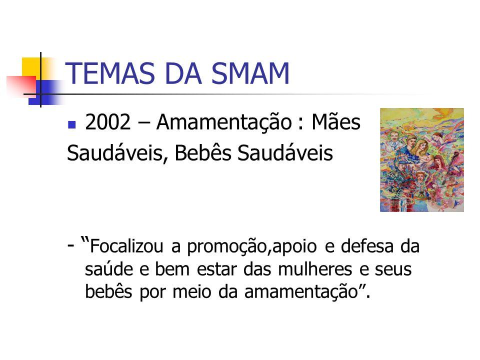 TEMAS DA SMAM 2002 – Amamentação : Mães Saudáveis, Bebês Saudáveis - Focalizou a promoção,apoio e defesa da saúde e bem estar das mulheres e seus bebê