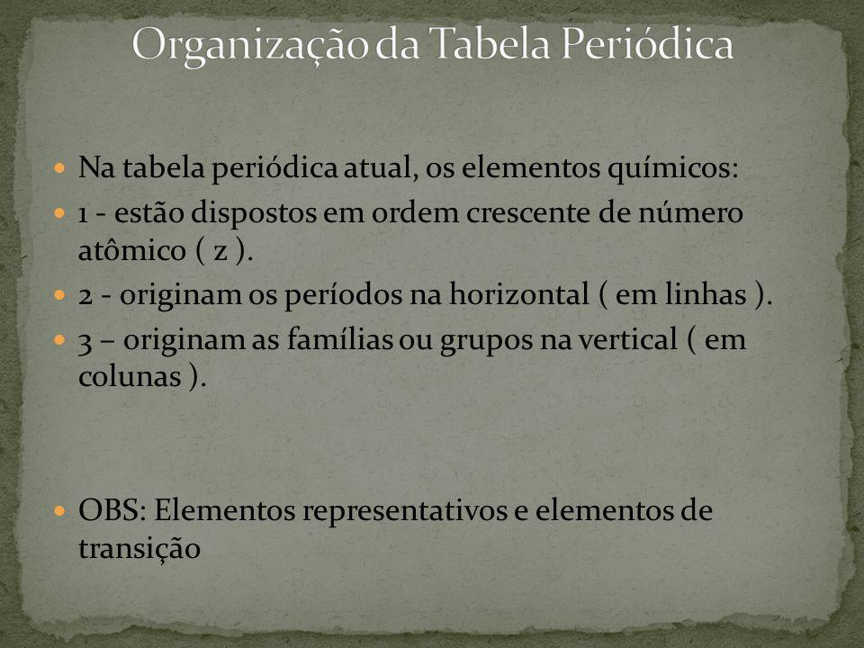 Na tabela periódica atual, os elementos químicos: 1 - estão dispostos em ordem crescente de número atômico ( z ). 2 - originam os períodos na horizont