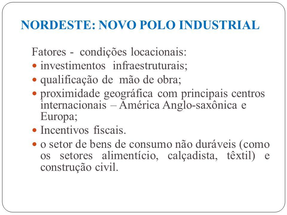 DESCENTRALIZAÇÃO DA ATIVIDADE INDUSTRIAL FATORES: aumento do custo dos insumos de produção, nos velhos centros industriais( mão de obra; energia; tran