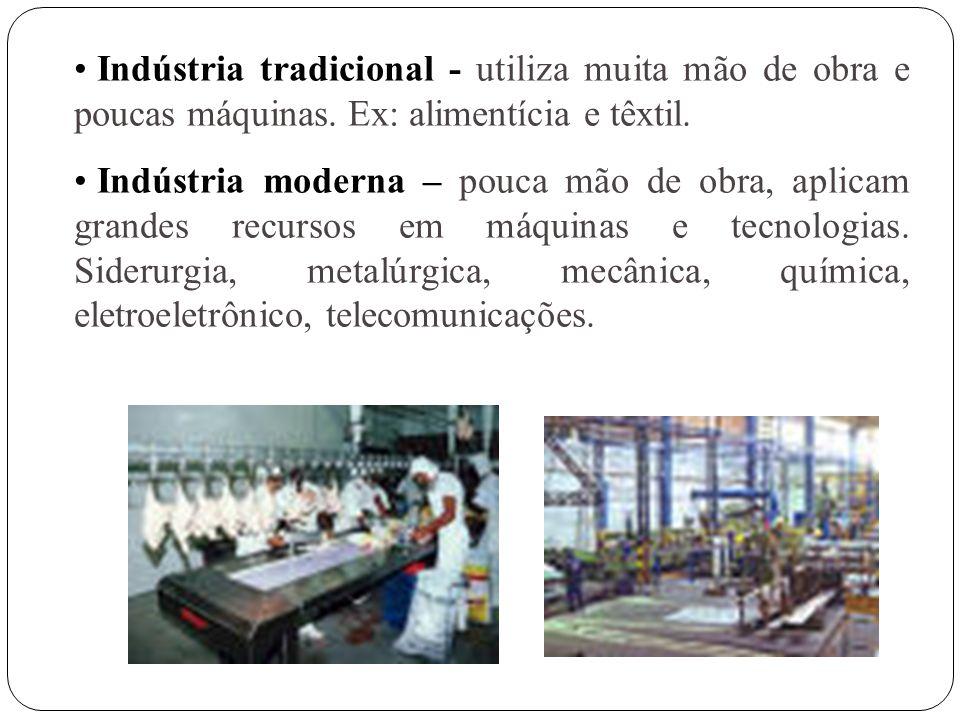 A concentração dos parques industriais está muito ligada ao fornecimento das fontes de energia. Diversas fontes de energia Energia térmica Petróleo e