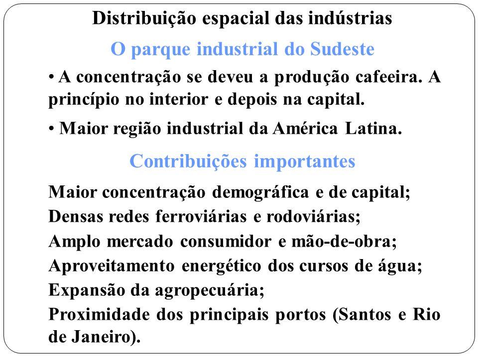 Indústria tradicional - utiliza muita mão de obra e poucas máquinas. Ex: alimentícia e têxtil. Indústria moderna – pouca mão de obra, aplicam grandes