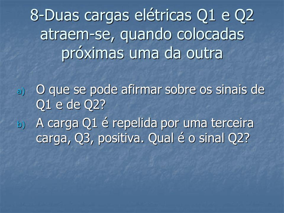 8-Duas cargas elétricas Q1 e Q2 atraem-se, quando colocadas próximas uma da outra a) O que se pode afirmar sobre os sinais de Q1 e de Q2? b) A carga Q