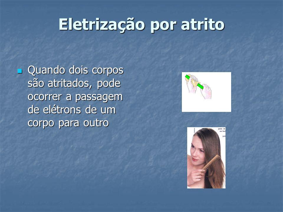 Eletrização por atrito Quando dois corpos são atritados, pode ocorrer a passagem de elétrons de um corpo para outro Quando dois corpos são atritados,