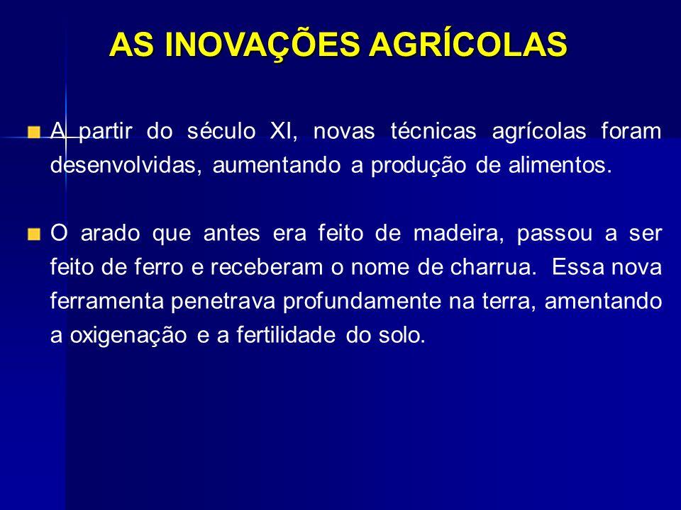 AS INOVAÇÕES AGRÍCOLAS A partir do século XI, novas técnicas agrícolas foram desenvolvidas, aumentando a produção de alimentos. O arado que antes era