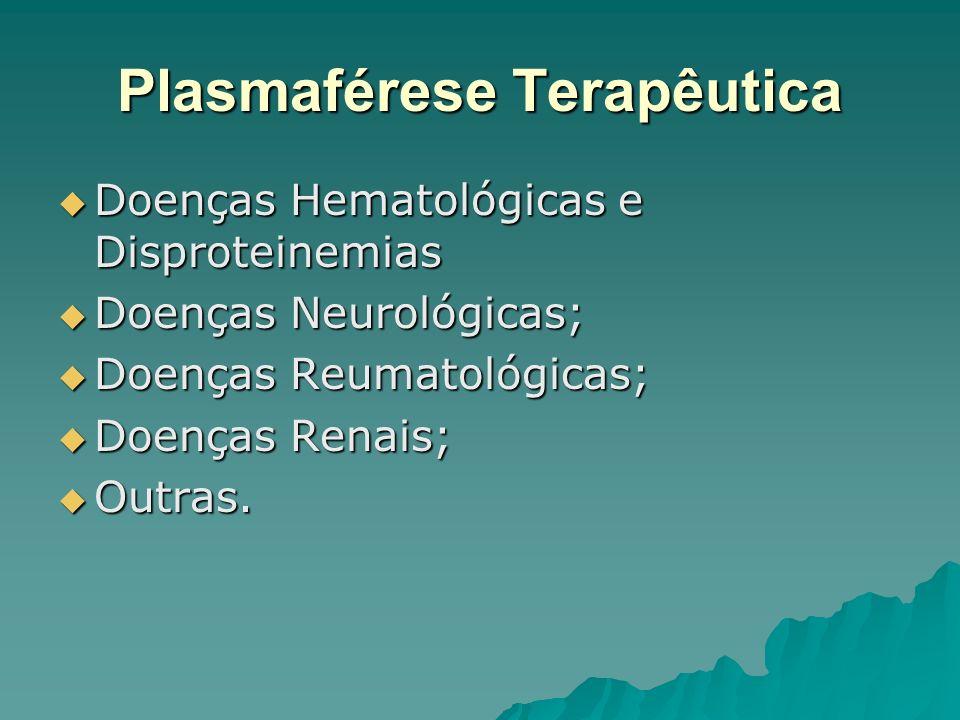 Plasmaférese Terapêutica Doenças Hematológicas e Disproteinemias Doenças Hematológicas e Disproteinemias Doenças Neurológicas; Doenças Neurológicas; D
