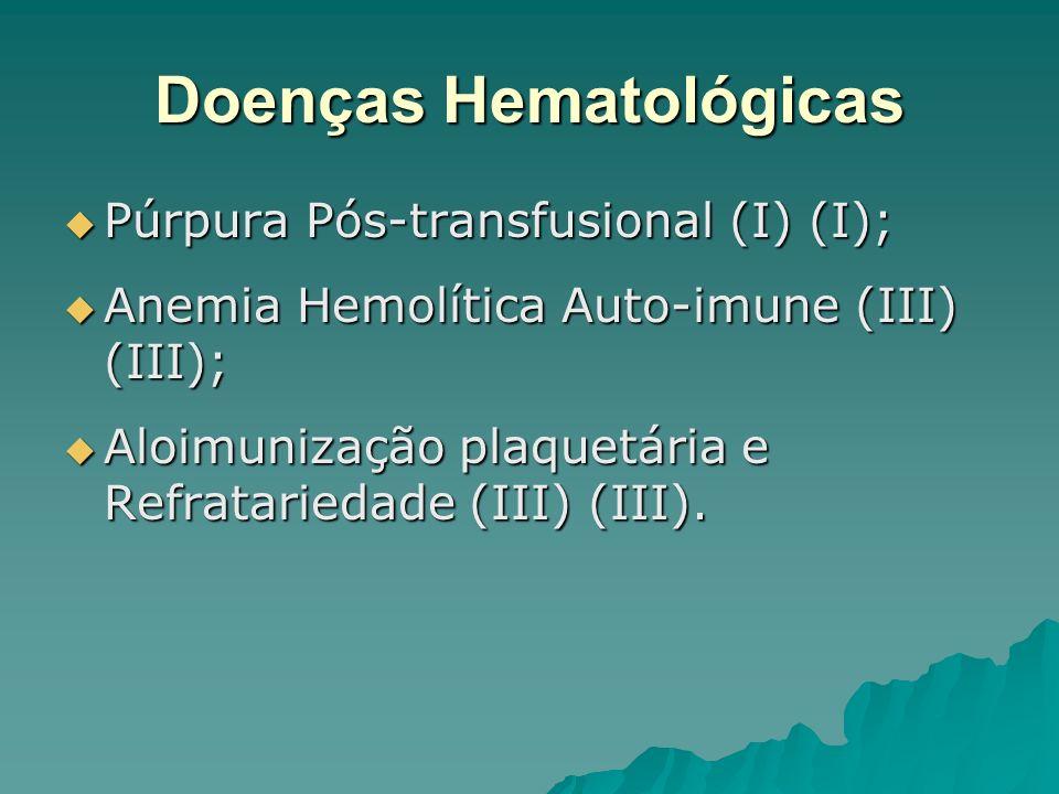 Doenças Hematológicas Púrpura Pós-transfusional (I) (I); Púrpura Pós-transfusional (I) (I); Anemia Hemolítica Auto-imune (III) (III); Anemia Hemolític