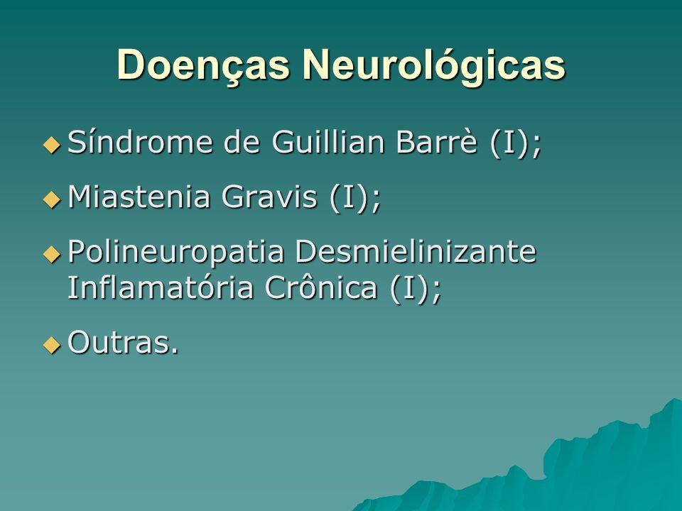 Doenças Neurológicas Síndrome de Guillian Barrè (I); Síndrome de Guillian Barrè (I); Miastenia Gravis (I); Miastenia Gravis (I); Polineuropatia Desmie