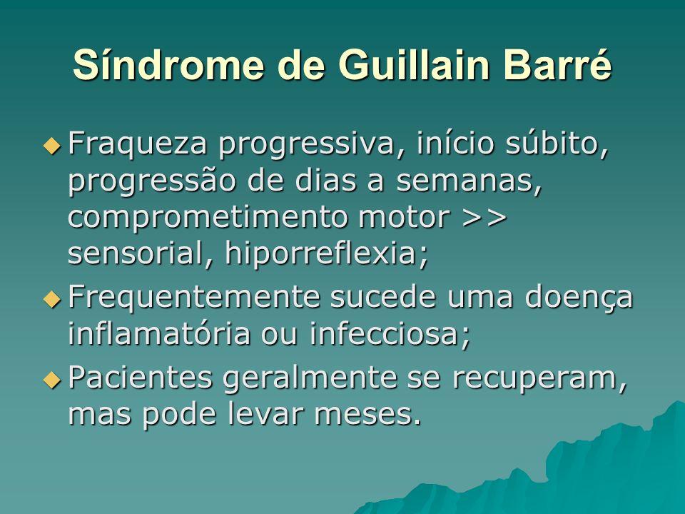 Síndrome de Guillain Barré Fraqueza progressiva, início súbito, progressão de dias a semanas, comprometimento motor >> sensorial, hiporreflexia; Fraqu