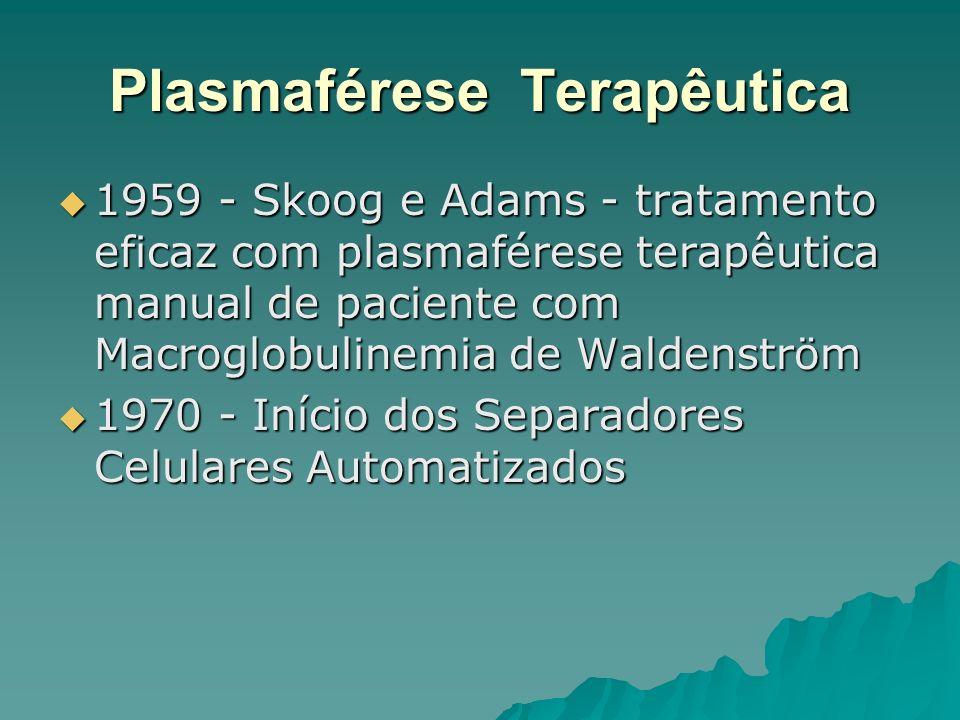 Plasmaférese Terapêutica 1959 - Skoog e Adams - tratamento eficaz com plasmaférese terapêutica manual de paciente com Macroglobulinemia de Waldenström