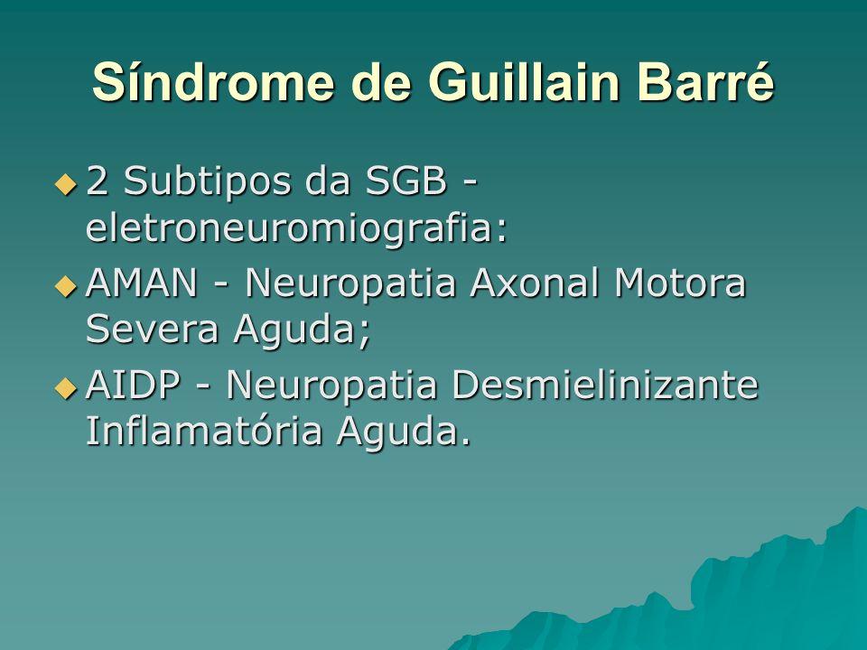 Síndrome de Guillain Barré 2 Subtipos da SGB - eletroneuromiografia: 2 Subtipos da SGB - eletroneuromiografia: AMAN - Neuropatia Axonal Motora Severa