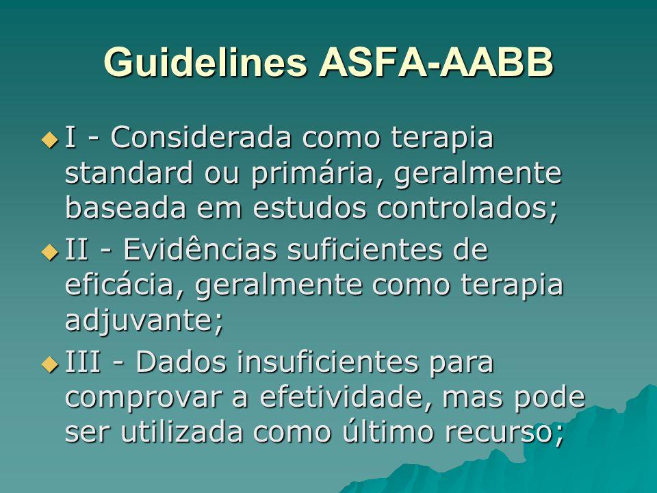 Guidelines ASFA-AABB I - Considerada como terapia standard ou primária, geralmente baseada em estudos controlados; I - Considerada como terapia standa