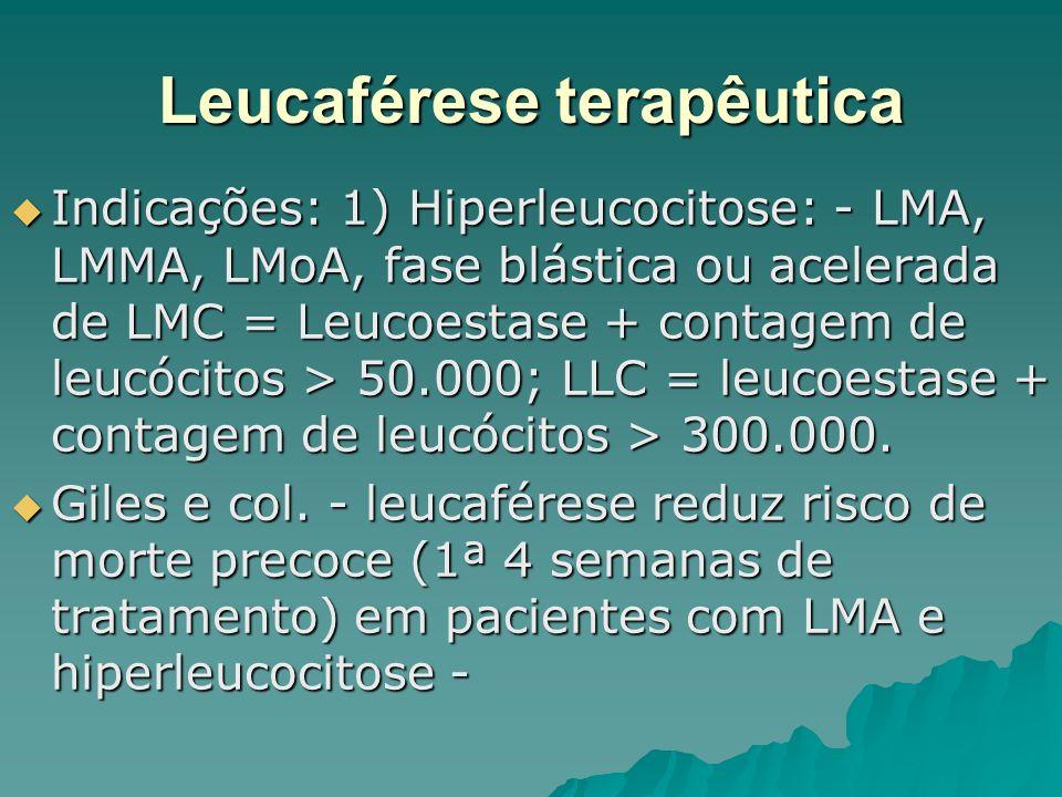Leucaférese terapêutica Indicações: 1) Hiperleucocitose: - LMA, LMMA, LMoA, fase blástica ou acelerada de LMC = Leucoestase + contagem de leucócitos >