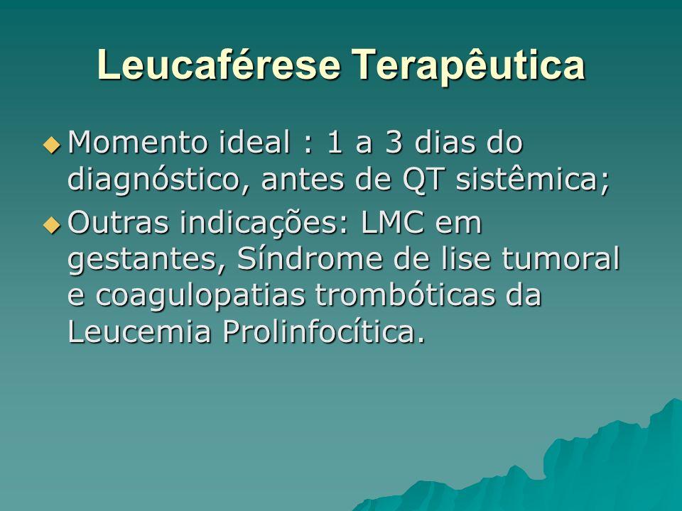 Leucaférese Terapêutica Momento ideal : 1 a 3 dias do diagnóstico, antes de QT sistêmica; Momento ideal : 1 a 3 dias do diagnóstico, antes de QT sistê