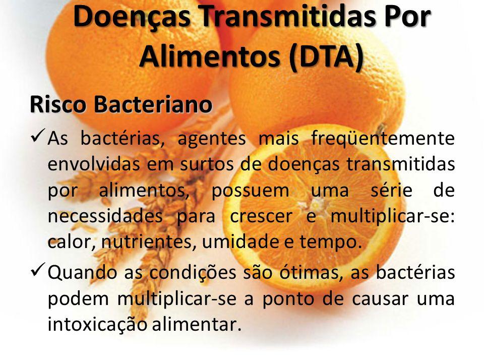 Risco Bacteriano As bactérias, agentes mais freqüentemente envolvidas em surtos de doenças transmitidas por alimentos, possuem uma série de necessidad
