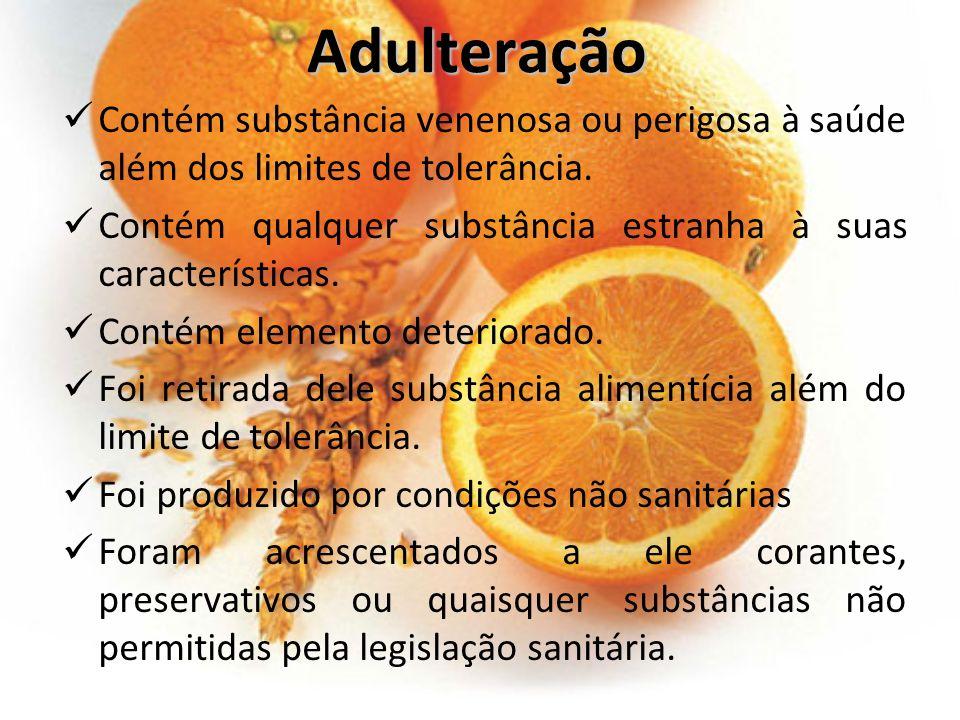 Adulteração Contém substância venenosa ou perigosa à saúde além dos limites de tolerância. Contém qualquer substância estranha à suas características.